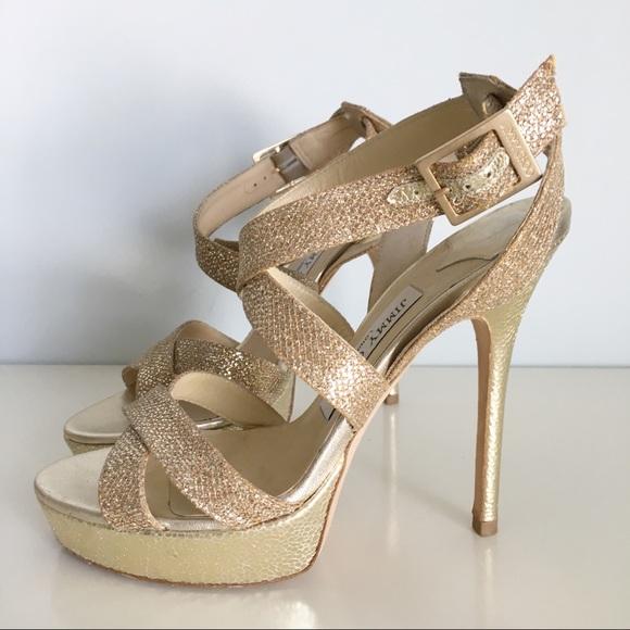 Jimmy Choo Gold Glitter Platform Sandal